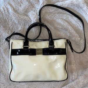 kate spade Cream and Black Patent Leather Bag